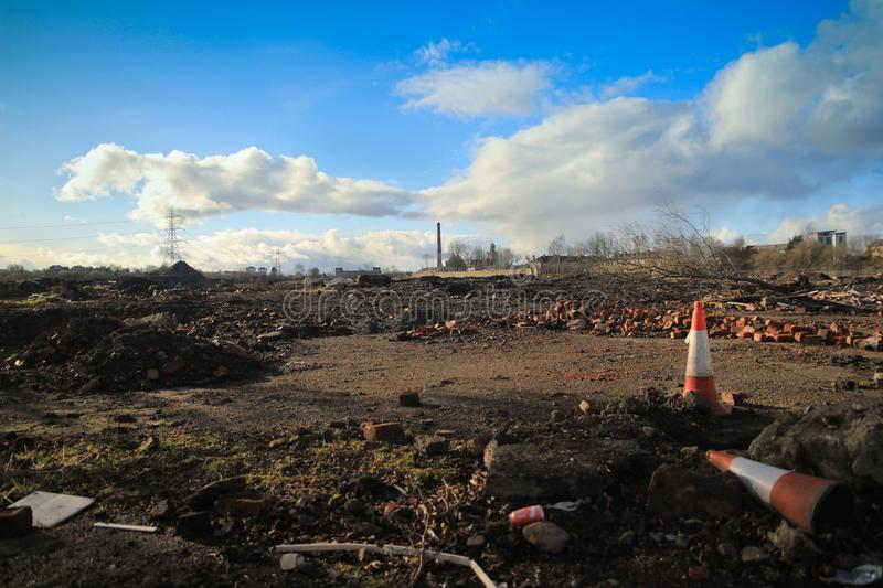 Developemental waste land in Scotland. A waste land and site for building development in the west of Scotland royalty free stock photo