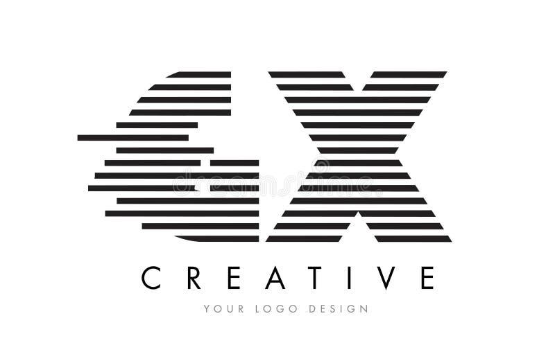 GX G X Zebra Letter Logo Design with Black and White Stripes stock illustration