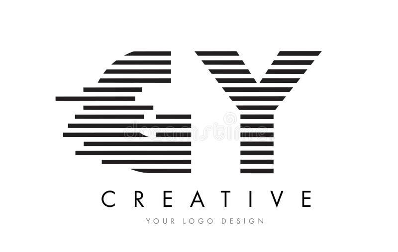GY G Y Zebra Letter Logo Design with Black and White Stripes royalty free illustration