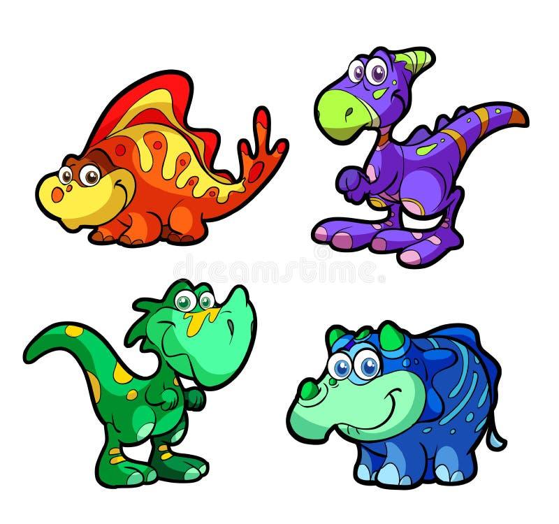 gyckel för dinosaur för teckensamling gulligt vektor illustrationer