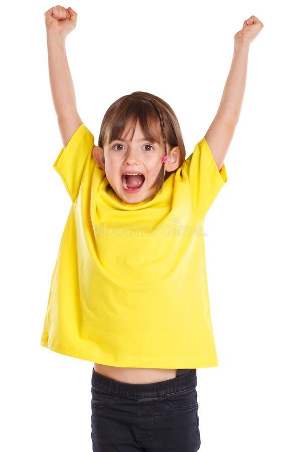 Gyckel för lycklig framgång för lycka för barnungeflicka som lyckad bra hoppar ungt som isoleras på vit arkivbilder