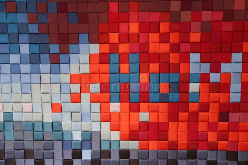 Gyckel och mycket färgrik serie av fyrkanter eller PIXEL stock illustrationer
