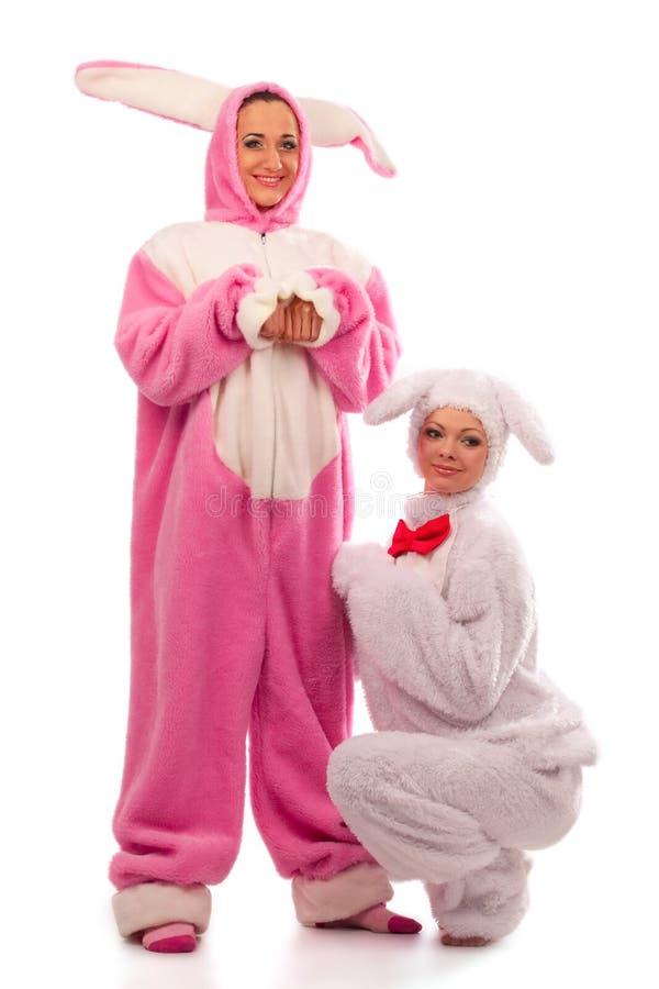 gyckel som har kaniner royaltyfri bild