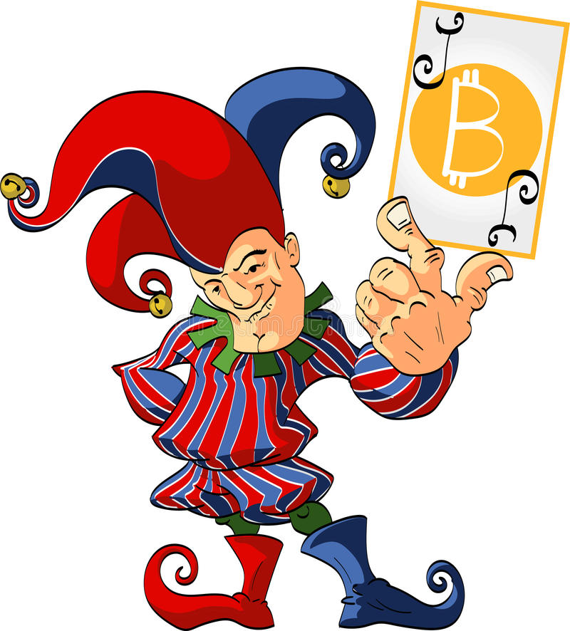 Gyckelmakare som rymmer ett vinnande bitcoinjokerkort royaltyfri illustrationer