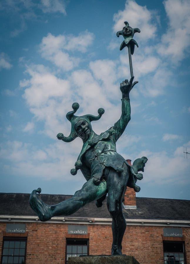 Gyckelmakarestatyn, Stratford-på-Avon, UK royaltyfri bild