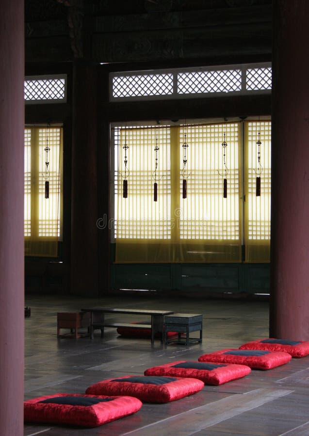 gyeongbokgung席子宫殿祷告 免版税库存照片