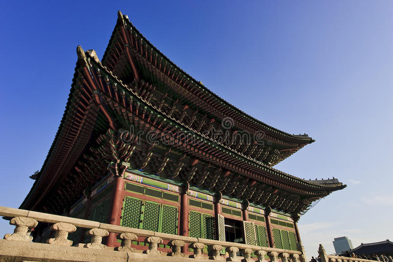 Gyeongbokgung Palace. Low angle exterior view of Gyeongbokgung Royal Palace, Seoul, South Korea stock photo