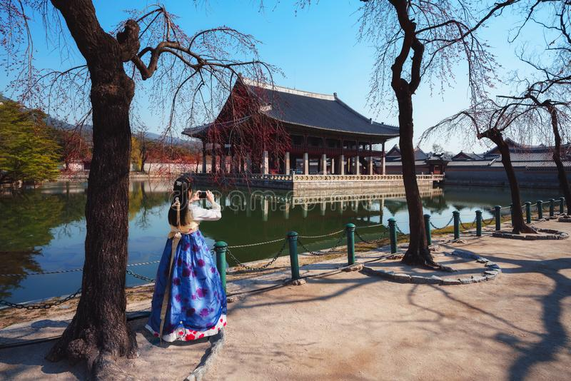 Gyeongbokgung Palace. Female traveler in korean national dress or Hanbok traveling into the Gyeongbokgung Palace with cherry blossom, Seoul South Korea royalty free stock photography