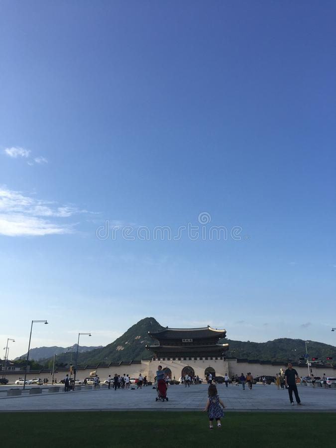 Gyeongbokgung Palace in front of Mountain royalty free stock photos