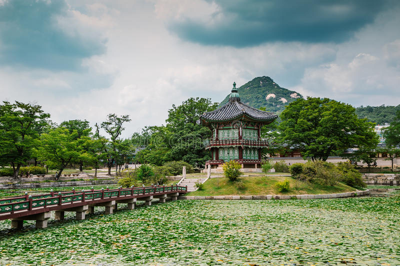 Download Gyeongbokgung Palace Korean Traditional Architecture With Green Nature Scenery In Seoul South Korea Stock
