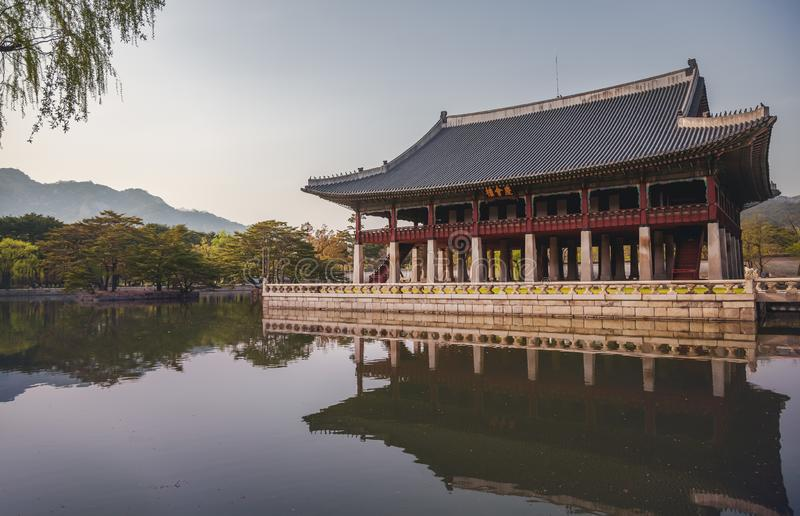 Gyeongbokgung Palace, pond and pagoda, travel to South Corea. Beautiful landscape royalty free stock photos