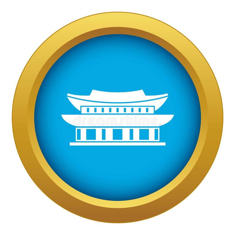 Gyeongbokgung palace, Seoul icon blue vector isolated royalty free illustration