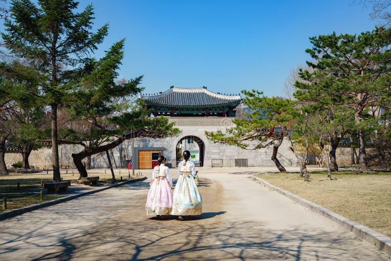Gyeongbokgung palace. Unidentified tourist in hanbook at Gyeongbokgung palace, Seoul South Korea stock photos