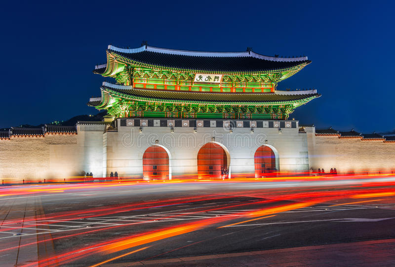 Gyeongbokgungpaleis in Seoel, Korea stock foto's