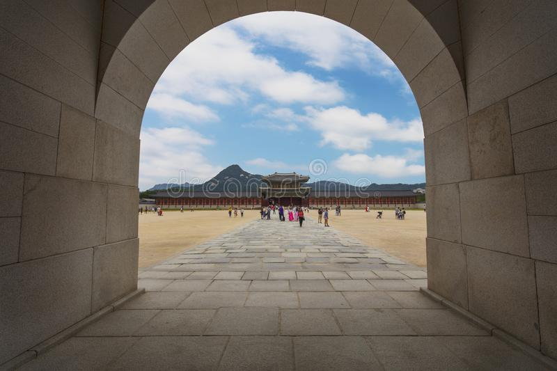 Gyeongbokgungpaleis in Seoel, Zuid-Korea royalty-vrije stock fotografie