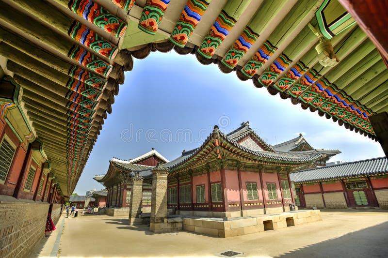 Gyeongbokpaleis, Seoel, Korea stock foto's
