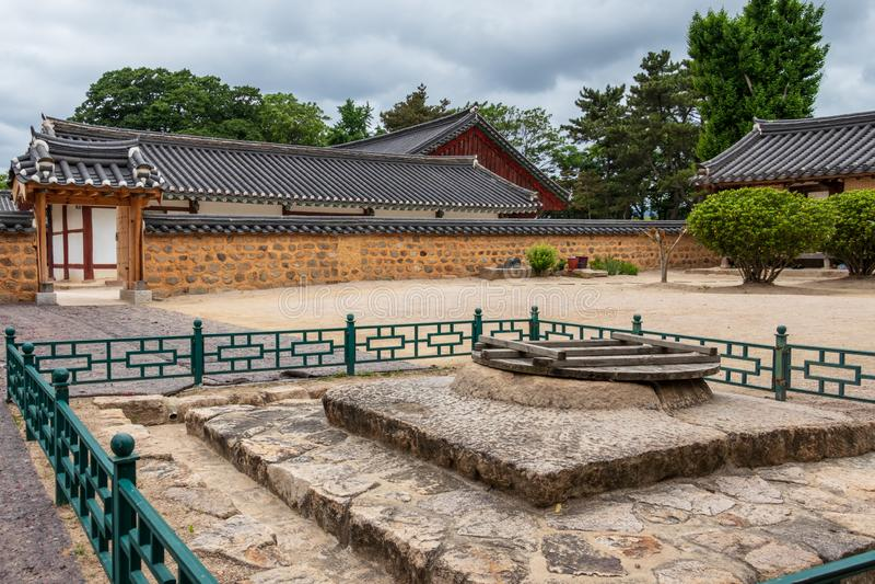 Courtyard and traditional building facades of the korean Gyeongju Hyanggyo Confucian School. Gyeongju, South Korea, Asia. The Gyeongju Hyanggyo is a hyanggyo or stock image