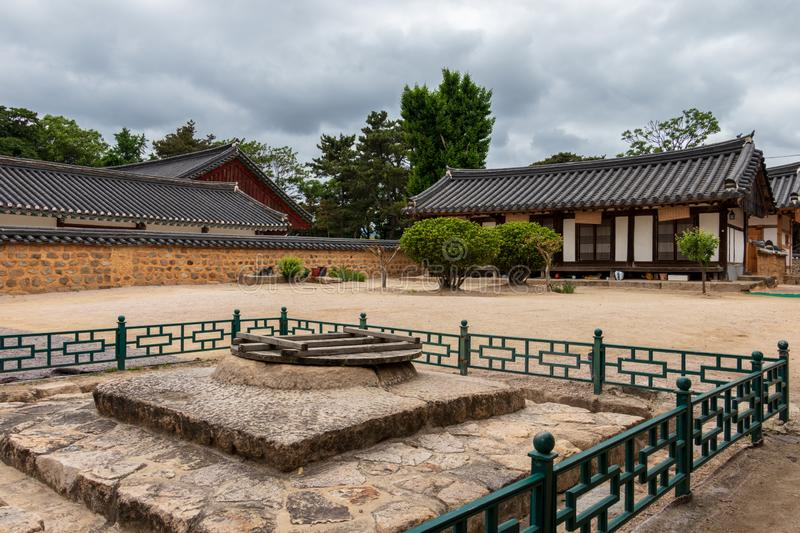 Panorama of Courtyard and traditional building facades of the korean Gyeongju Hyanggyo Confucian School. Gyeongju, South Korea,. The Gyeongju Hyanggyo is a stock photography