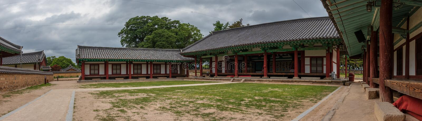 Panorama of traditional building facades of the korean Gyeongju Hyanggyo Confucian School. Gyeongju, South Korea, Asia. The Gyeongju Hyanggyo is a hyanggyo or stock images