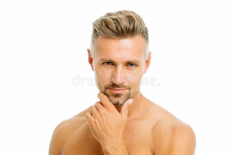 Gyllene regler av att raka Barberarefrisör- och självomsorg Manlig mode och sk?nhet Skäggigt raka för hipster man arkivbild