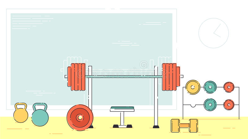 Gym ćwiczenia wyposażenia izbowy wewnętrzny salowy set Liniowe uderzenie konturu mieszkania stylu wektoru ikony Monochromatyczny  ilustracja wektor