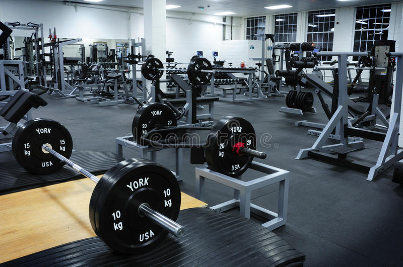 Gym stock image of interior physical dumbbell