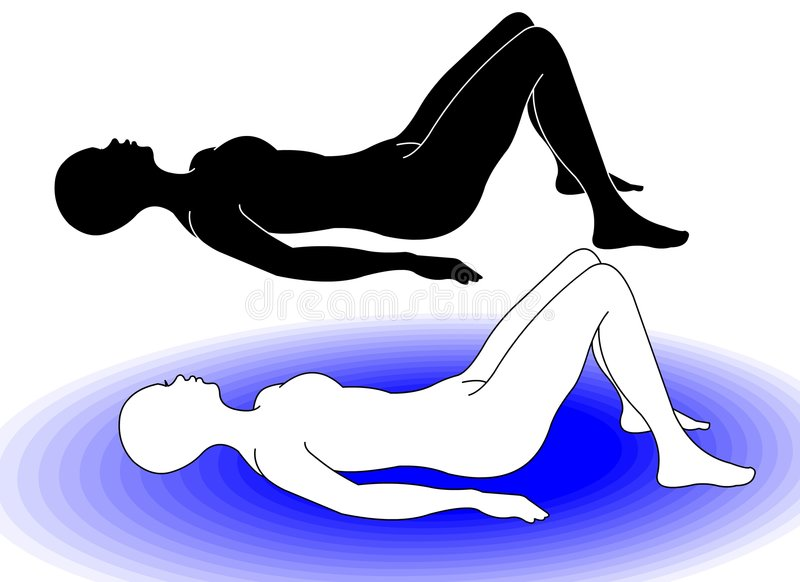 Gym 7. Woman silhouette which shows the correct position for pilates techniques and gymnastics in general vector illustration