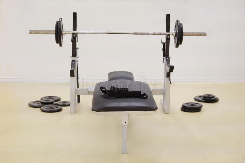 Gym apparatus. Image of a Weight lifting equipments royalty free stock photos