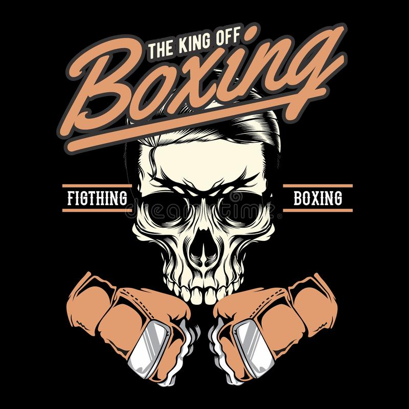 Gym badge of boxing skull.hand drawing vector. Hand drawing,Shirt designs, biker, disk jockey, gentleman, barber and many others. isolated and easy to edit royalty free illustration