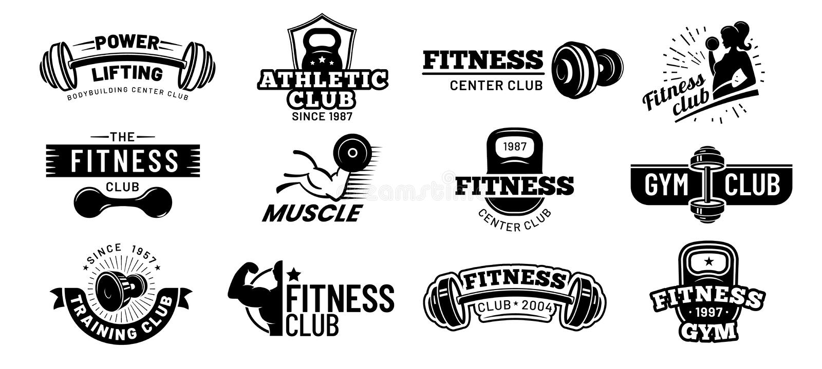 Gym badges. Bodybuilding stencil label, fitness monochrome silhouette badge and athlete muscles vector illustration set. Gym badges. Bodybuilding stencil label stock illustration