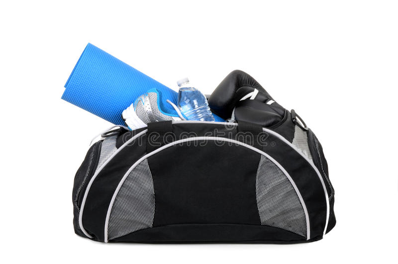 Gym Bag. With shoes yoga mat and water bottle isolated on white background stock images