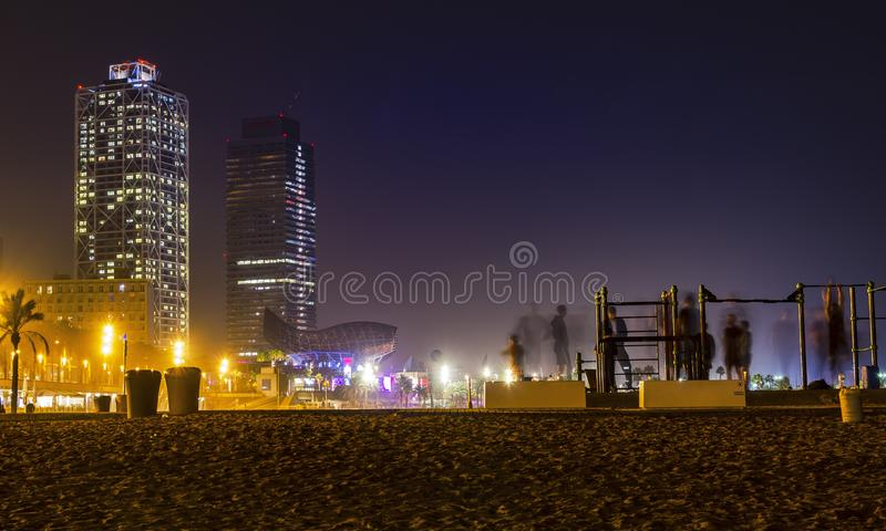 Gym on the beach at night stock photo