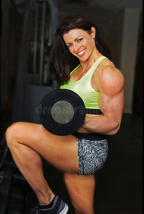 Gym Beauty Prepares for Workout royalty free stock image