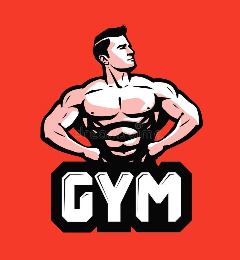 Gym, bodybuilding logo lub etykietka, Silny mężczyzna z dużymi mięśniami również zwrócić corel ilustracji wektora royalty ilustracja