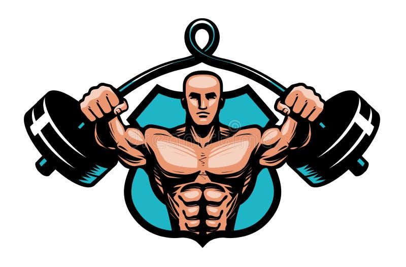 Gym, bodybuilding, sporta logo lub etykietka, Bodybuilder z ciężkim barbell w rękach również zwrócić corel ilustracji wektora ilustracji