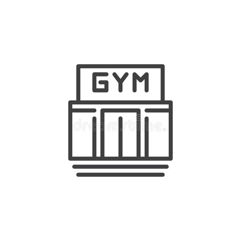 Gym building line icon. Linear style sign for mobile concept and web design. Sport club outline vector icon. Fitness symbol, logo illustration. Pixel perfect vector illustration