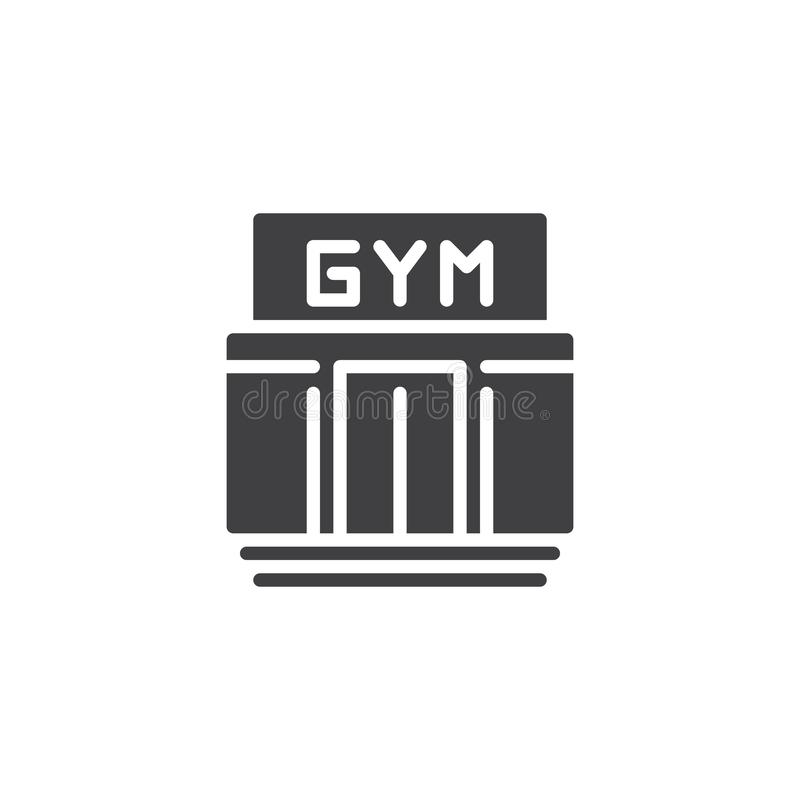 Gym building vector icon. Filled flat sign for mobile concept and web design. Sport club simple glyph icon. Fitness symbol, logo illustration. Pixel perfect stock illustration