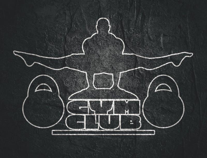 Gym club emblem. Muscular man posing on gym club text. Bodybuilding relative image. Outline design sport badge or emblem vector illustration