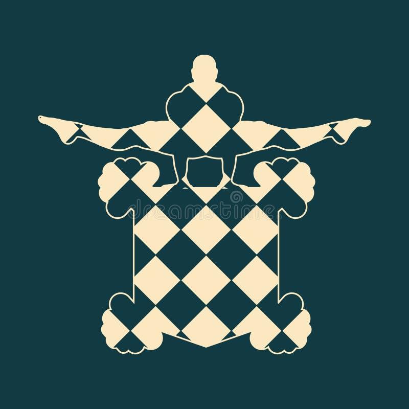 Gym club emblem. Muscular man posing on shield emblem. Bodybuilding coat of arm royalty free illustration