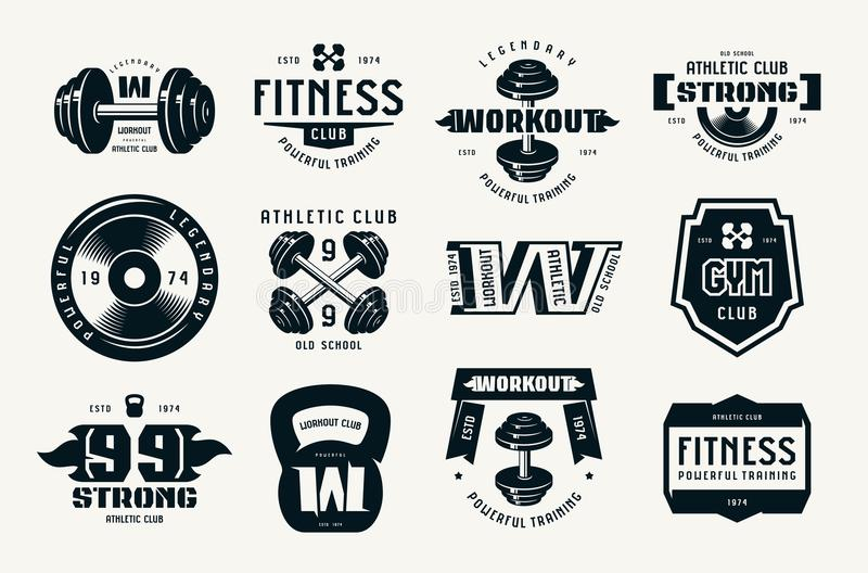 Gym club, fitness and workout badges and logo royalty free illustration