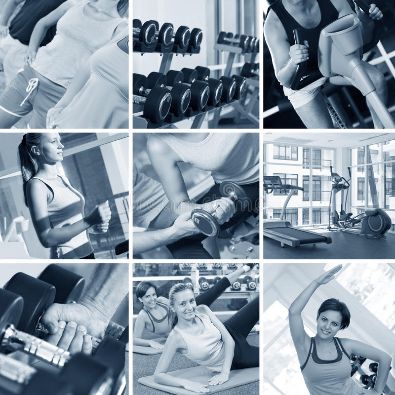 Download Gym collage stock image. Image of biceps, exercise, face - 11611687