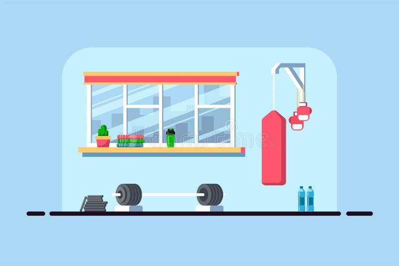 Gym interior banner vector illustration