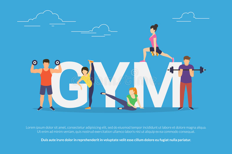 Gym concept vector illustration of young people doing workout with equipment. Flat design of guys and women training near big letters gym. Active lifestyle stock illustration