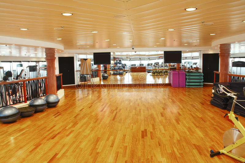 Gym dance studio. Luxury gym dance studio with equipment, mirrors and wooden flooring