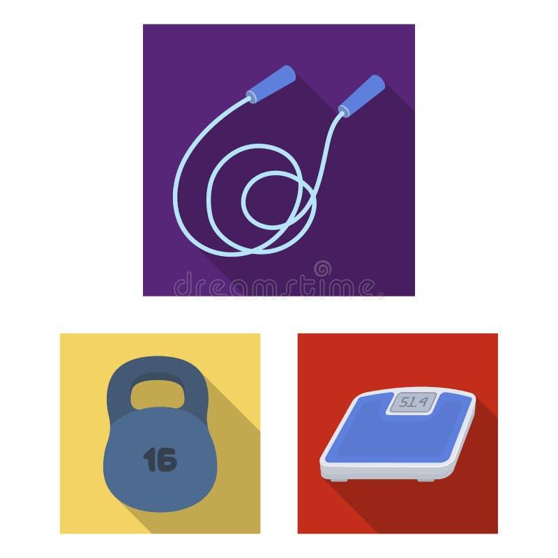 Gym e ícones lisos de formação na coleção do grupo para o projeto O Gym e o equipamento vector a ilustração conservada em estoque ilustração royalty free