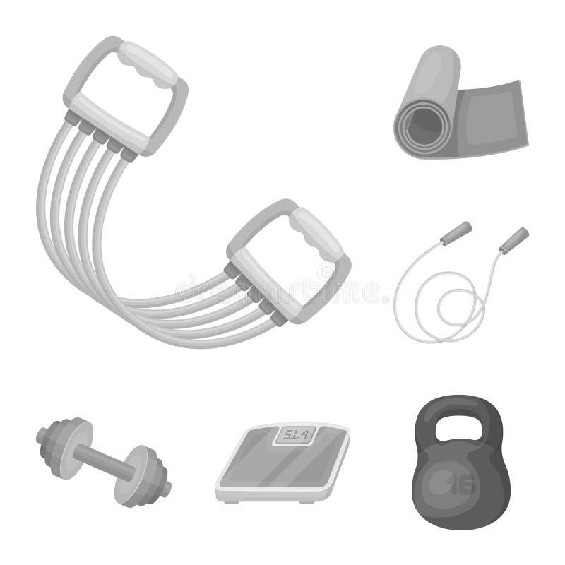 Gym e ícones monocromáticos de formação na coleção do grupo para o projeto O Gym e o equipamento vector a ilustração conservada e ilustração stock