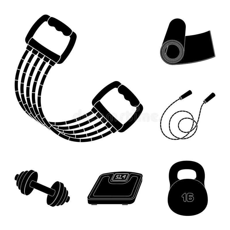 Gym e ícones pretos de formação na coleção do grupo para o projeto O Gym e o equipamento vector a ilustração conservada em estoqu ilustração royalty free