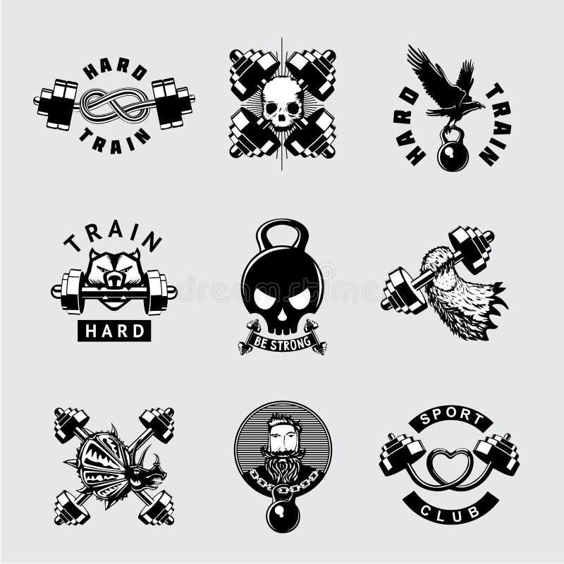 Gym e grupo do ícone do vetor do vintage do clube de aptidão Emblema retro do esporte do halterofilismo do estilo com barbell Sin ilustração stock