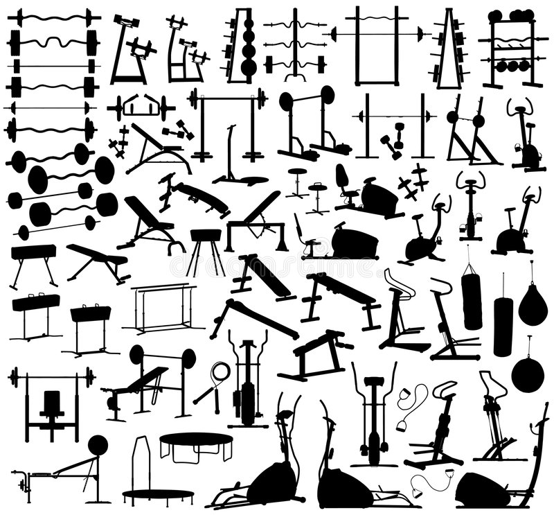 Gym equipment stock illustration