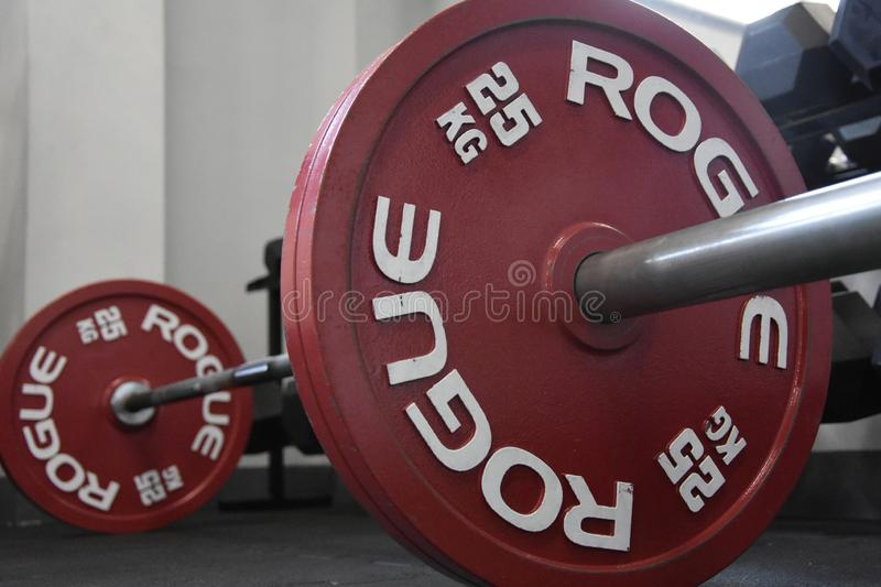 Gym Rogue Competition Plates on power bar royalty free stock image